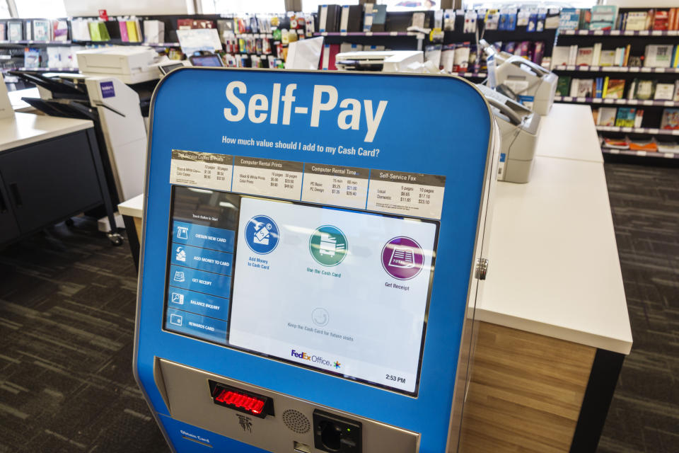A self check-out kiosk at a Miami Beach store. (Getty Images)
