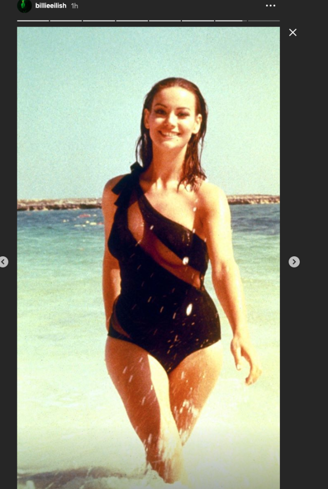 Billie Eilish paid tribute to iconic Bond girl Claudine Auger, who was Domino in <i>Thunderball</i>, opposite Sean Connery. (Instagram)