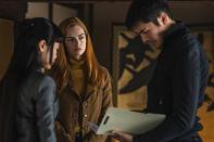 """This image released by Paramount Pictures shows, from left, Haruka Abe, Samara Weaving and Henry Golding in a scene from """"Snake Eyes: G.I. Joe Origins."""" (Niko Tavernise/Paramount Pictures via AP)"""