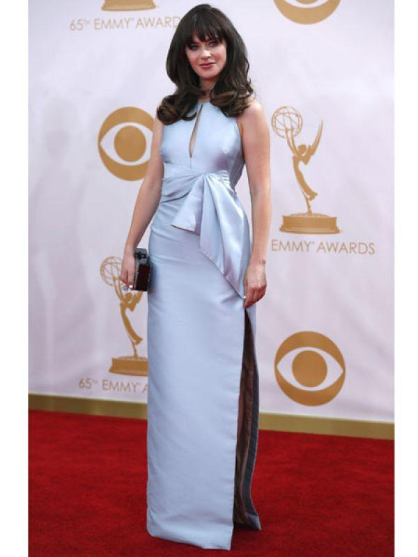 <p><strong>Zooey Deschanel</strong>: Zooey from <em>New Girl</em> looked lovely in a structured light blue dress from J. Mendel.</p>