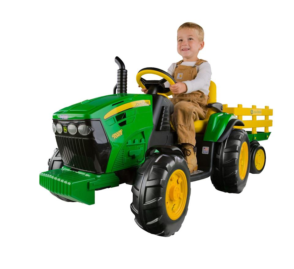 """<p><strong>Peg Perego</strong></p><p>walmart.com</p><p><strong>$278.99</strong></p><p><a href=""""https://go.redirectingat.com?id=74968X1596630&url=https%3A%2F%2Fwww.walmart.com%2Fip%2F13398158&sref=https%3A%2F%2Fwww.bestproducts.com%2Fparenting%2Fkids%2Fg37090434%2Fkids-toy-lawn-mowers%2F"""" rel=""""nofollow noopener"""" target=""""_blank"""" data-ylk=""""slk:Shop Now"""" class=""""link rapid-noclick-resp"""">Shop Now</a></p><p>Get those back acres cleared (in their imagination) with this ride-on toy mower from Peg Perego. Designed to look like a John Deere Tractor, this is the ride-on toy preferred by farmers and ranchers everywhere. </p><p>It operates on a 12-volt battery, goes between 2 and 5 miles per hour, and has a run time of 1.5 hours. It is designed to be easy to steer, even across uneven surfaces. So grab some Carhartt overalls, a sippy cup of sweet tea, and get out there and mow.</p>"""