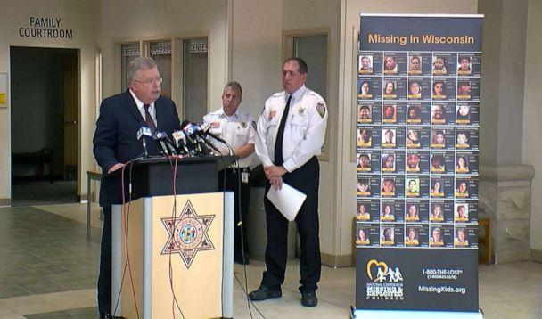 PHOTO: A poster showing people missing in Wisconsin is displayed during a press conference held by the Barron County Sheriff's Office nearly one year after Jayme Closs was abducted, Oct. 14, 2019. (KSTP)