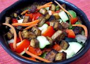"""<p>A bowl of <a href=""""https://www.popsugar.com/fitness/Recipe-Baked-Tofu-7927710"""" class=""""link rapid-noclick-resp"""" rel=""""nofollow noopener"""" target=""""_blank"""" data-ylk=""""slk:cumin and honey baked tofu"""">cumin and honey baked tofu</a> is perfect for those who love the taste of savory and sweet.</p>"""