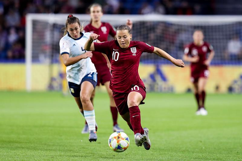 LE HAVRE, FRANCE - JUNE 14: Fran Kirby #10 of England in action during the 2019 FIFA Women's World Cup France group D match between England and Argentina at Stade Oceane on June 14, 2019 in Le Havre, France. (Photo by Zhizhao Wu/Getty Images)