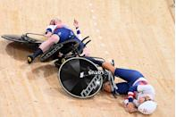 <p>After Germany stole Team GB's team pursuit cycling world record, Laura Kenny, Elinor Barker, Katie Archibald and Neah Evans were so determined to reacquire the title on Tuesday that Katie and Neah wound up crashing into each other. Thankfully, they walked away unscathed, and did manage to slash three seconds off the world record time, but this lasted only a matter of minutes as Germany beat it by over half a second in the final heat against Italy.</p>