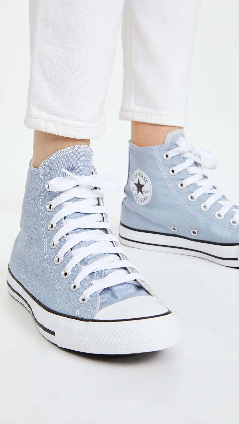 <p>Everyone could use a classic pair of <span>Converse Chuck Taylor All Star High Top Sneakers</span> ($60) in their closet. They are the shoes that will always be in style.</p>
