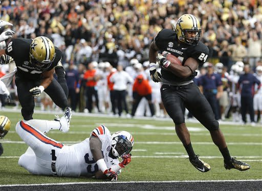 Vanderbilt running back Wesley Tate (24) scores a touchdown in the first quarter of an NCAA college football game on Saturday, Oct. 20, 2012, in Nashville, Tenn. (AP Photo/Joe Howell)