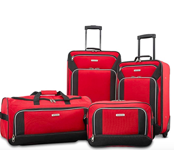 American Tourister Fieldbrook XLT Softside Upright Luggage, Red, 4-Piece Set (BB/DF/21/25)