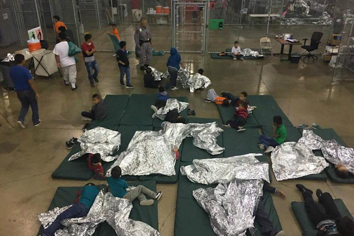 Children taken into custody in cases related illegal entry into the U.S. rest at a facility in McAllen, Texas, on Sunday. (Photo: U.S. Customs and Border Protection's Rio Grande Valley Sector via AP)
