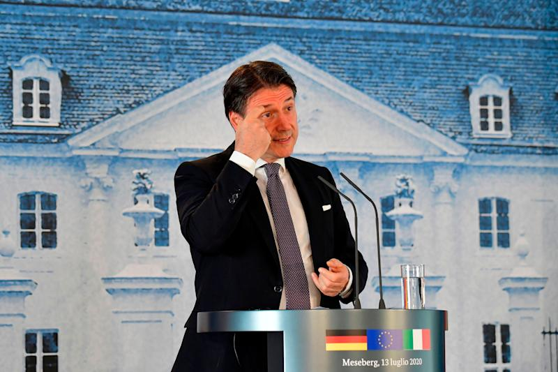 Italian Prime Minister Giuseppe Conte speaks during a press conference with the German Chancellor (unseen) after their meeting on July 13, 2020 at the German governmental guest house in Meseberg, outside Berlin. (Photo by Tobias SCHWARZ / various sources / AFP) (Photo by TOBIAS SCHWARZ/POOL/AFP via Getty Images) (Photo: TOBIAS SCHWARZ via Getty Images)