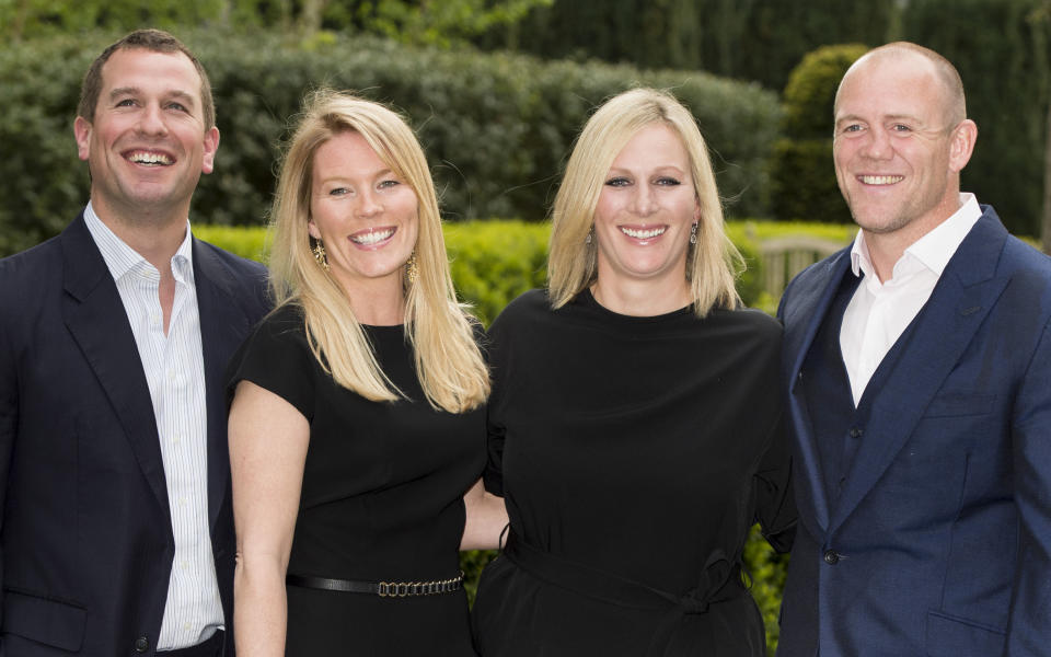 Mike Tindall and Zara Phillips with Peter Phillips and Autumn Phillips attend a dinner at the ISPS Handa Mike Tindall 3rd annual celebrity golf classic at The Grove Hotel on May 8, 2015 in Hertford, England.