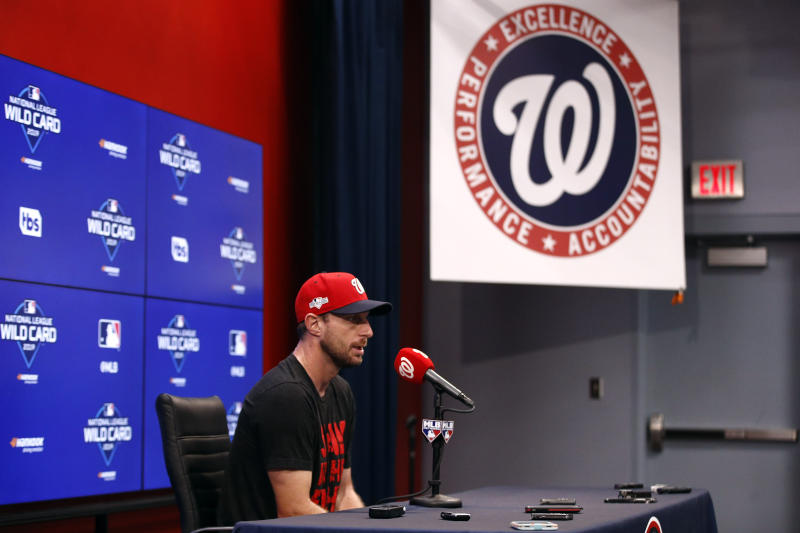 Washington Nationals starting pitcher Max Scherzer speaks at a baseball news conference, Monday, Sept. 30, 2019, in Washington. The Nationals are scheduled to host the Milwaukee Brewers in a National League wild card game Tuesday, Oct. 1. (AP Photo/Patrick Semansky)