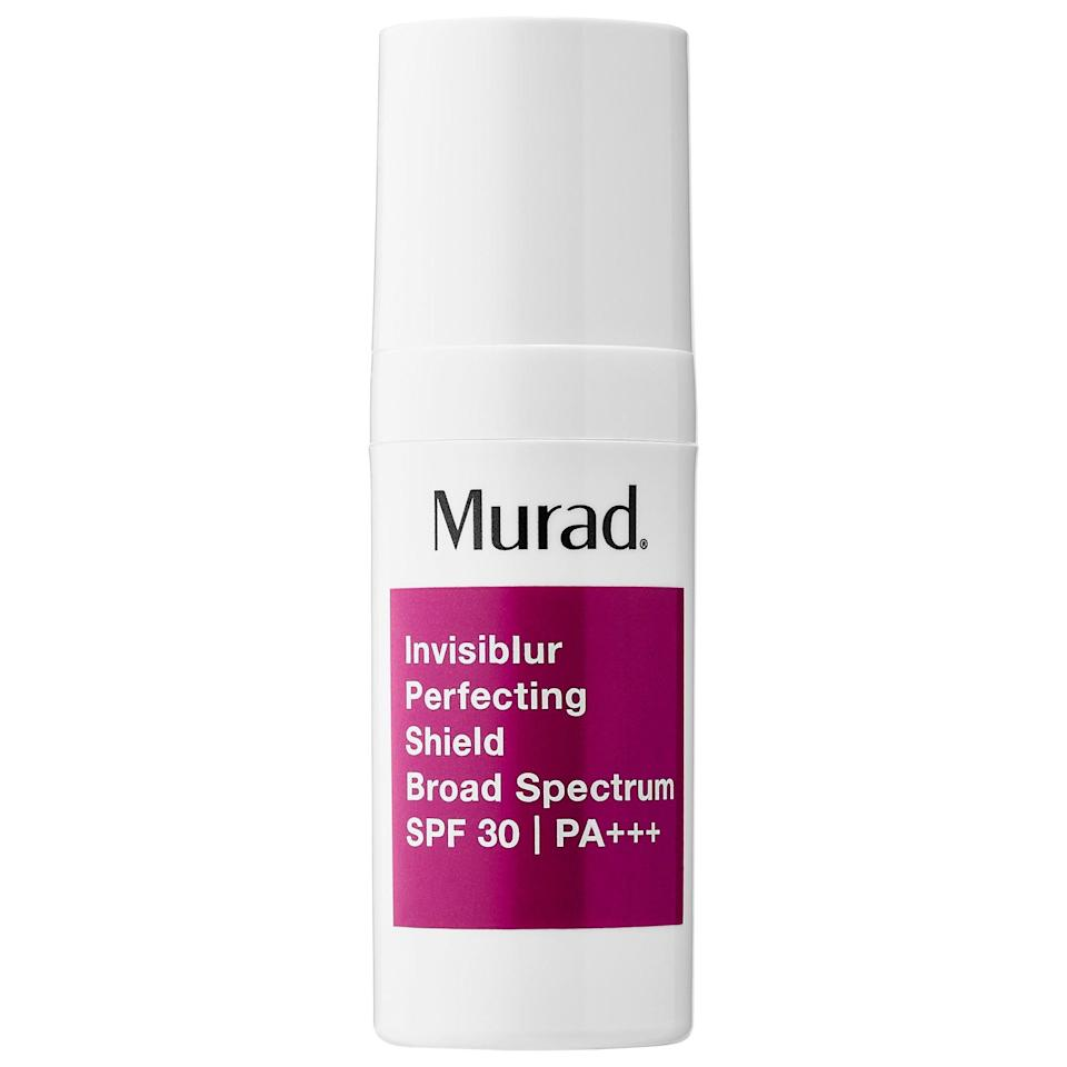 <p>The <span>Murad Invisiblur Perfecting Shield Broad Spectrum SPF 30</span> ($65) goes on clear, so there's no white or purple tone left behind - plus, it's great for oily skin.</p>