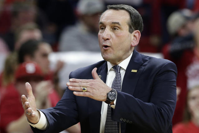 Duke coach Mike Krzyzewski reacts during the second half of the team's NCAA college basketball game against North Carolina State in Raleigh, N.C., Saturday, Jan. 6, 2018. North Carolina State won 96-85. (AP)