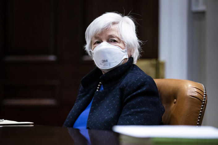 """WASHINGTON, DC - MARCH 05: Treasury Secretary Janet Yellen listens during a meeting with President Joe Biden in the Roosevelt Room of the White House,  March 5, 2021 in Washington, DC. Yellen has recently commented that bitcoin is an """"extremely inefficient"""" way to conduct monetary transactions. (Photo by Al Drago-Pool/Getty Images)"""