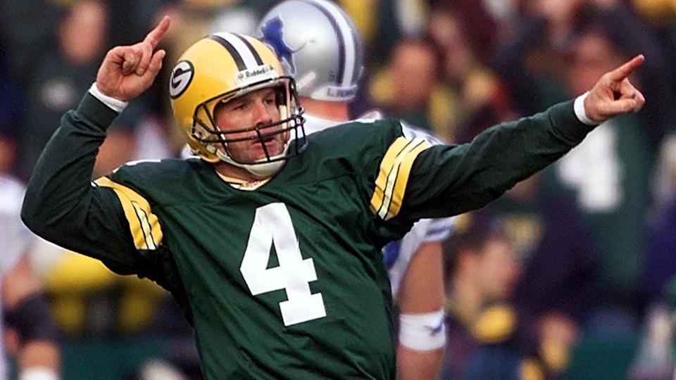Mandatory Credit: Photo by Morry Gash/AP/Shutterstock (6481863a)FAVRE Green Bay Packers quarterback Brett Favre (4) reacts after throwing a two-point conversion to receiver Corey Bradford in the third quarter against the Detroit Lions, in Green Bay, Wis.