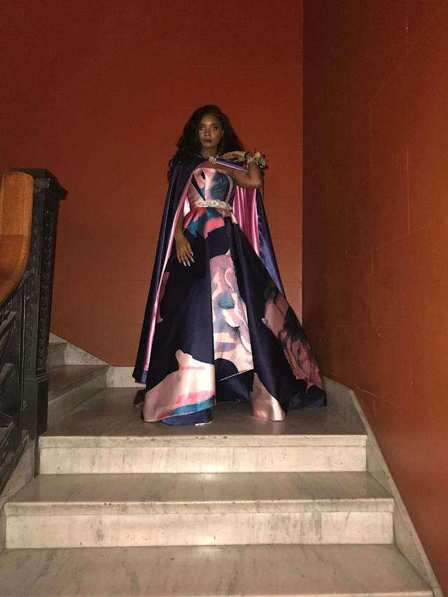 Kaylah Bell, 17, poses in her watercolor pink, purple and blue ballgown at prom. (Credit: Kaylah Bell)