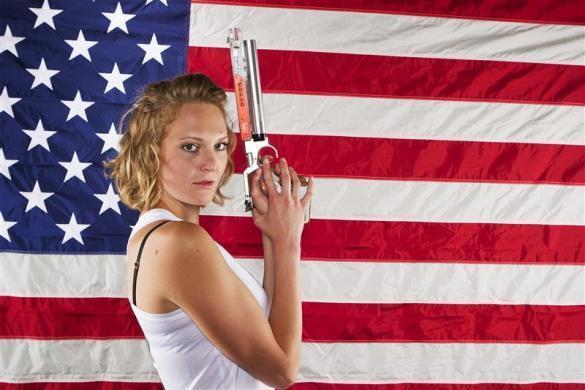 Modern pentathlon athlete Margaux Isaksen poses for a portrait during the 2012 U.S. Olympic Team Media Summit in Dallas, May 15, 2012.