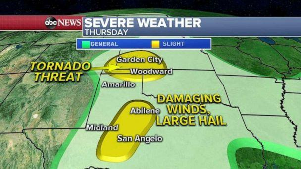 PHOTO: The severe weather threat shifts into Kansas, Oklahoma and Texas Thursday, where damaging winds and large hail will be the biggest threat. Tornadoes can't be ruled out in western Kansas and Oklahoma. (ABC News)