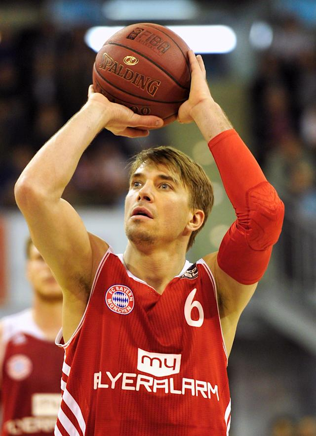 MUNICH, GERMANY - JANUARY 12: Steffen Hamann of Muenchen in action during the Beko Basketball Bundesliga match between FC Bayern Muenchen and New Yorker Phantoms Braunschweig at Audi-Dome on January 12, 2014 in Munich, Germany. (Photo by Lennart Preiss/Bongarts/Getty Images)