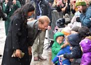 "<p>The couple, <a href=""https://www.townandcountrymag.com/society/tradition/a23776669/meghan-markle-due-date-2019/"" rel=""nofollow noopener"" target=""_blank"" data-ylk=""slk:who are expecting their first child this spring"" class=""link rapid-noclick-resp"">who are expecting their first child this spring</a>, were delighted to see the children who had <a href=""https://www.townandcountrymag.com/society/tradition/g26105239/prince-harry-meghan-markle-bristol-old-vic-photos-2019/"" rel=""nofollow noopener"" target=""_blank"" data-ylk=""slk:braved the snowy weather to see them in Bristol"" class=""link rapid-noclick-resp"">braved the snowy weather to see them in Bristol</a>. </p>"