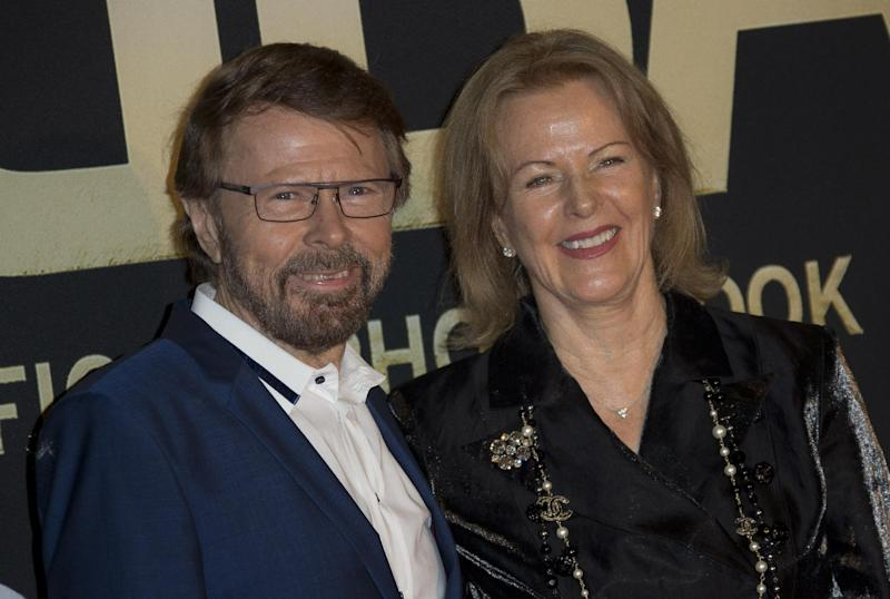 Swedish singer's Bjorn Ulvaeus, left, and Anni-Frid Lyngstad, of the pop group ABBA, pose on the red carpet ahead of the band's International anniversary party at the Tate Modern in central London, Monday, April 7, 2014. The event marks the launch of ABBA – The Official Photo Book, the first ever authorised photographic biography of the band. (Photo by Joel Ryan/Invision/AP Images)