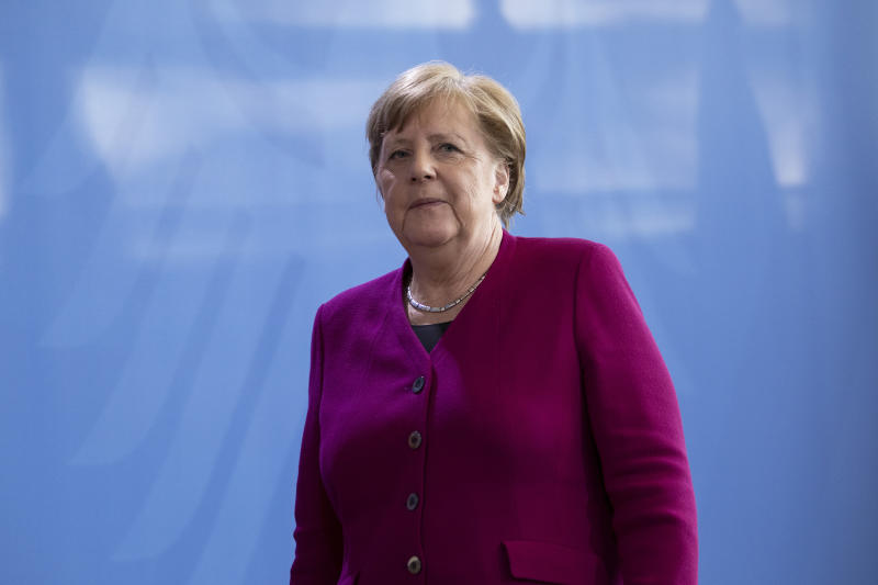 BERLIN, GERMANY - APRIL 23: German Chancellor Angela Merkel leaves after the press conference following a video conference with the European Council during the coronavirus crisis on April 23, 2020 in Berlin, Germany. European leaders are looking for common measures to stem the social and economic impact of the virus. (Photo by Maja Hitij/Getty Images)