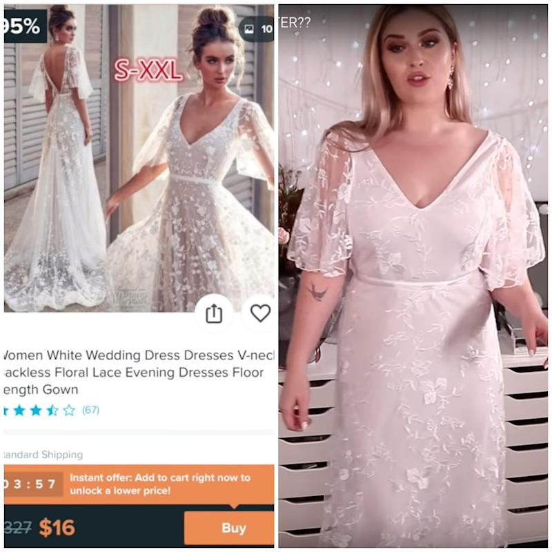 Shannon Harris in floral wish.com wedding dress