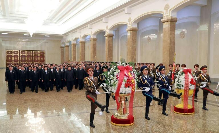 soldiers and officials including Kim paid their respects at his father's mausoleum, a sprawling palace on the outskirts of Pyongyang
