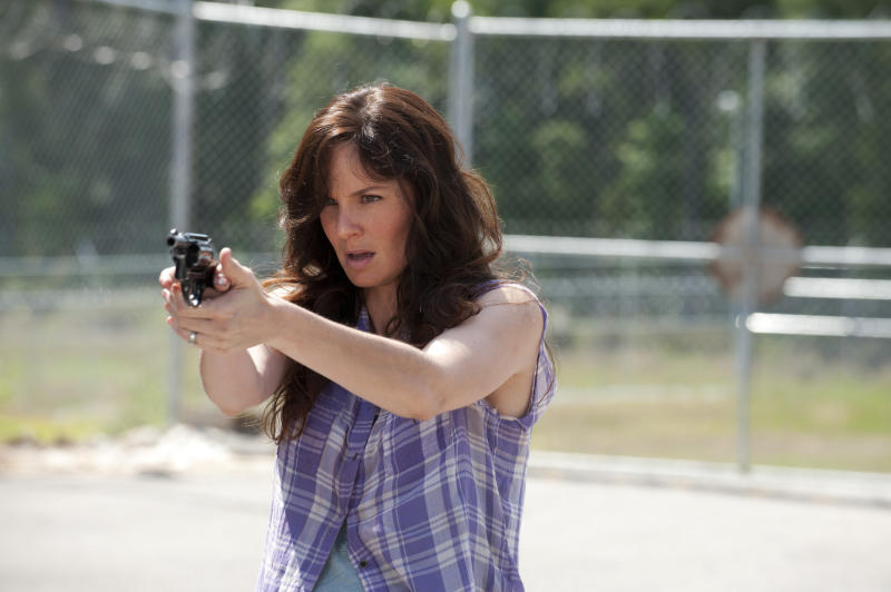 """This undated publicity photo released by AMC shows Sarah Wayne Callies as Lori Grimes in a scene from AMC's TV show, """"The Walking Dead,"""" Season 3, Episode 4. The show airs Sundays at 9 p.m. EST on AMC. (AP Photo/AMC, Gene Page)"""