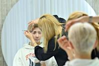 Blitzers member Lee Jun-young has his make-up done at a beauty salon in Seoul ahead of a promotional shoot