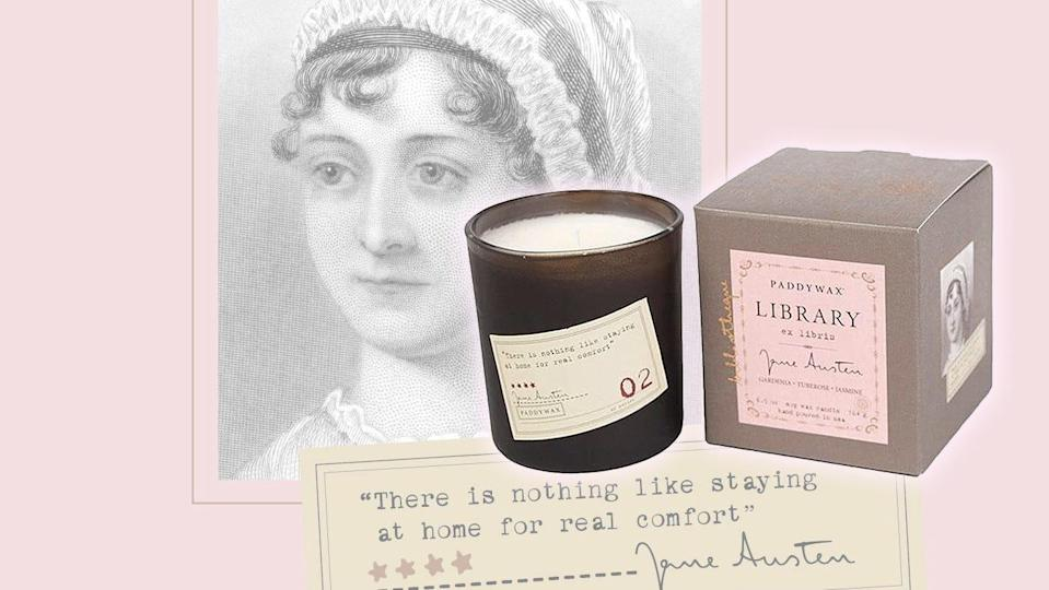Best gifts for book lovers: Paddywax Candles Library Collection Jane Austen soy wax candle