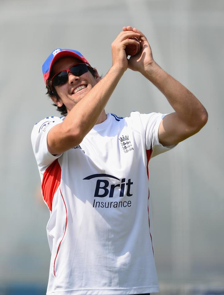 LONDON, ENGLAND - JULY 17:  England captain Alastair Cook in relaxed mood during an England Nets Session at Lord's Cricket Ground on July 17, 2013 in London, England.  (Photo by Mike Hewitt/Getty Images)