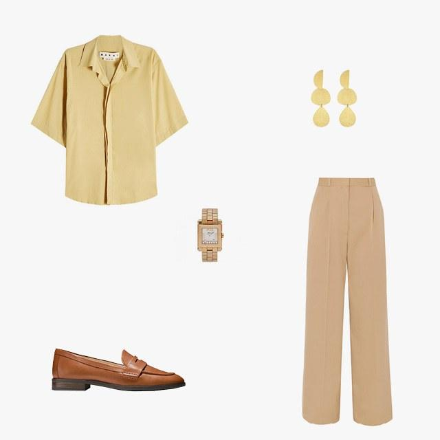 Marni short-sleeved cotton shirt, $590, stylebop.com; The Row elin wool-blend twill wide-leg pants, $1,615, net-a-porter.com; Chopard Happy Sport watch in 18k rose gold, $9,450, beladora.com; Cole Haan penny loafers, $130, colehaan.com; Annie Costello Brown Thea earrings in gold brass, $244, monnierfreres.com