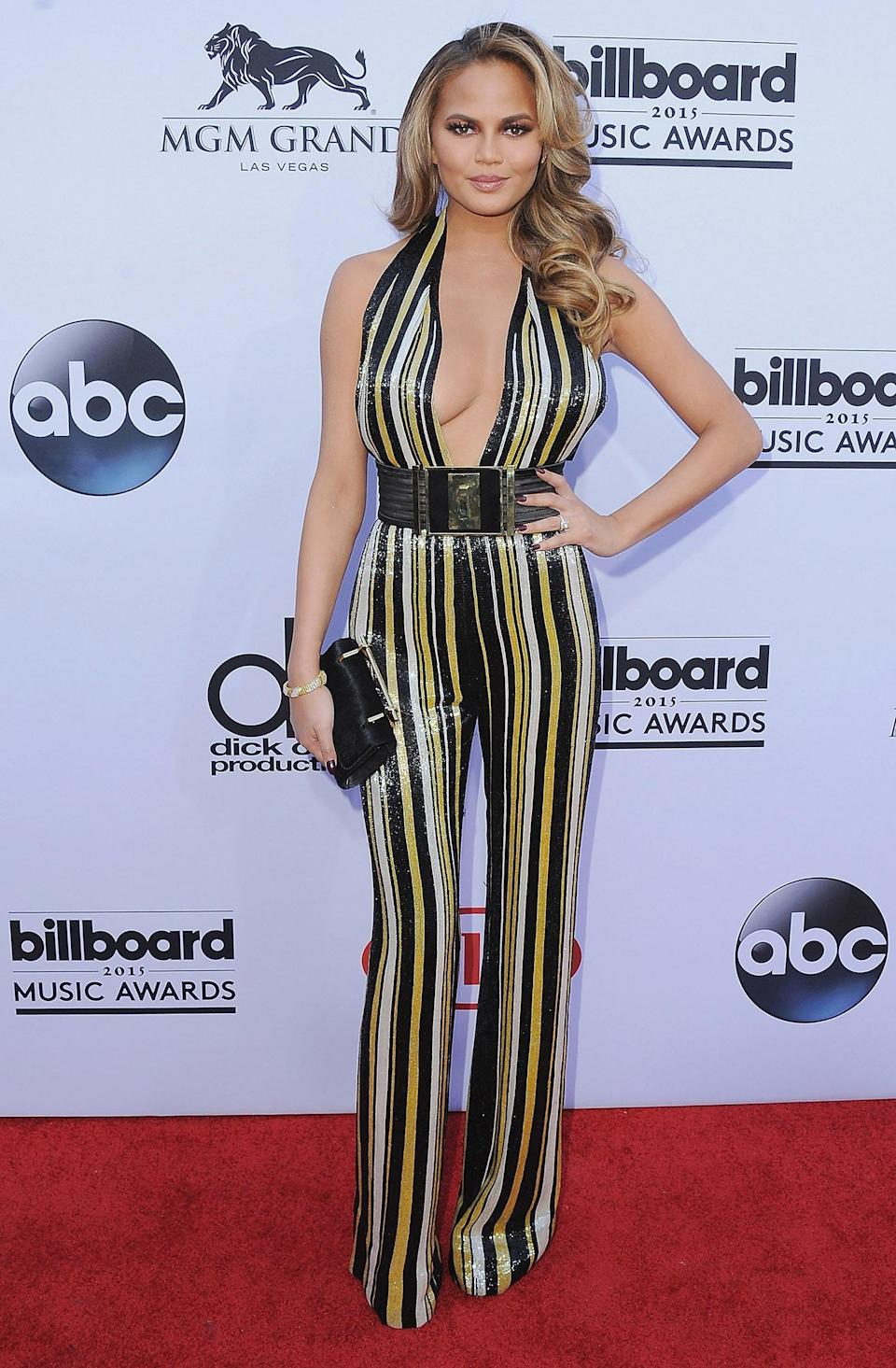 <p>The outspoken model also wore a jumpsuit at the 2015 Billboard Music Awards, but one with a flashy pattern. (Photo: Jon Kopaloff/FilmMagic) </p>