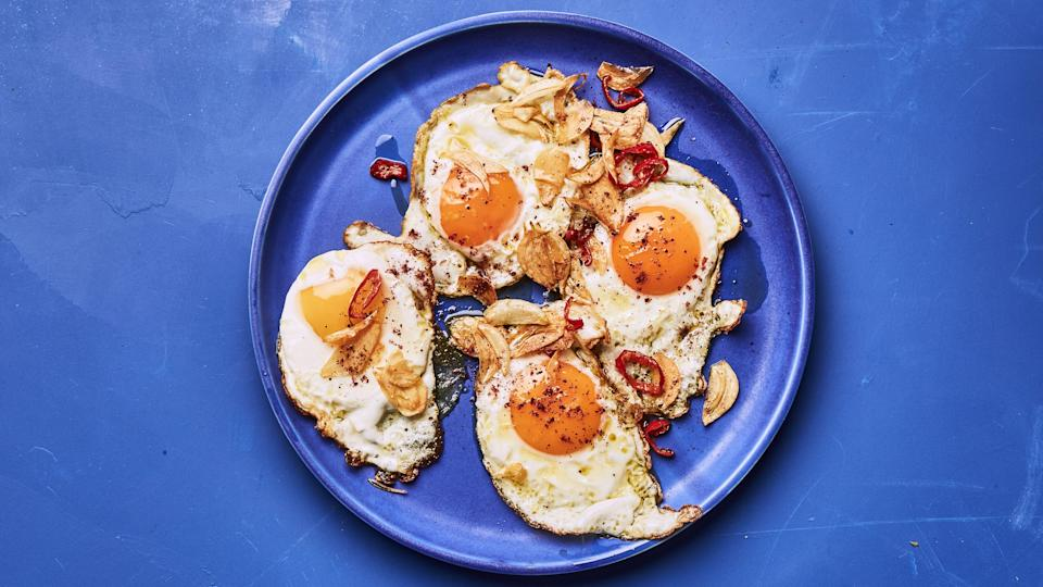"""<a href=""""https://www.bonappetit.com/recipe/sumac-fried-eggs-with-red-chile-and-garlic?mbid=synd_yahoo_rss"""" rel=""""nofollow noopener"""" target=""""_blank"""" data-ylk=""""slk:See recipe."""" class=""""link rapid-noclick-resp"""">See recipe.</a>"""
