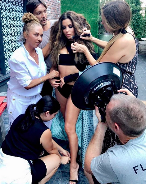 "<p>It takes a village! ""Family's back together!"" the actress captioned a pic of her team primping her for a photo shoot. (Photo: <a href=""https://www.instagram.com/p/BXRN67cgHCg/?taken-by=evalongoria"" rel=""nofollow noopener"" target=""_blank"" data-ylk=""slk:Eva Longoria via Instagram"" class=""link rapid-noclick-resp"">Eva Longoria via Instagram</a>)<br><br></p>"