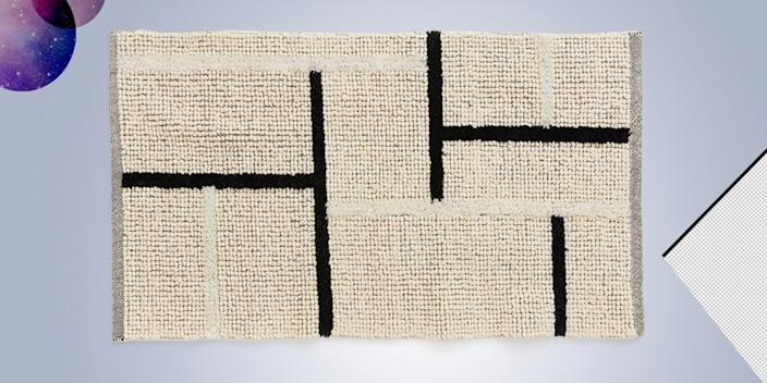 """<div class=""""caption""""> This nubby rug is the best of both worlds: Its neutral color scheme means it goes with everything, but its linear pattern keeps it from being boring. <br> <a href=""""https://www2.hm.com/en_us/productpage.0659651001.html"""" rel=""""nofollow noopener"""" target=""""_blank"""" data-ylk=""""slk:SHOP NOW"""" class=""""link rapid-noclick-resp"""">SHOP NOW</a>: Wool Blend Rug by H&M Home, 31"""" x 55"""", $60, hm.com<br> </div> <cite class=""""credit"""">Photo courtesy of H&M</cite>"""
