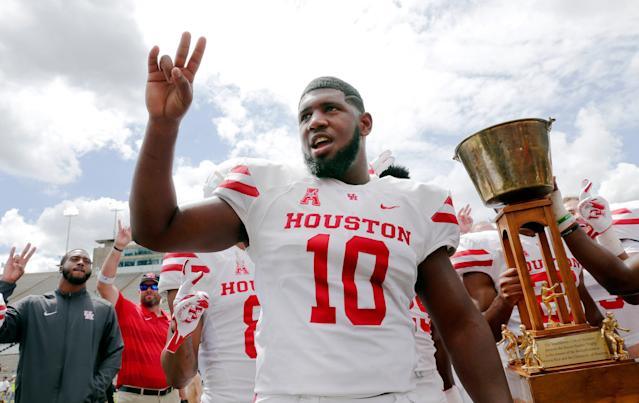 Houston Cougars defensive tackle Ed Oliver after defeating Rice. (AP Photo)