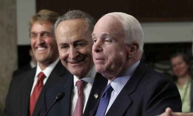 Sens. John McCain and Chuck Schumer have warned the House against passing piecemeal immigration reform.