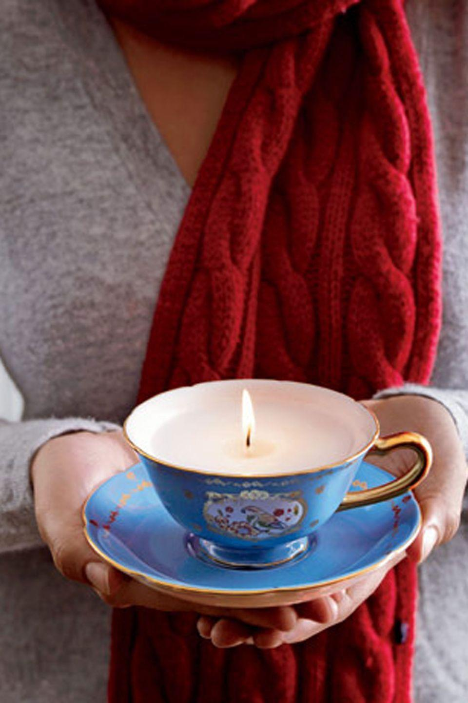 """<p>Teacups offer elegant vessels for hand-poured candles. Repurpose china from old place settings, mixing and matching pieces. Or single out a favorite new find, such as this one from <a href=""""https://go.redirectingat.com?id=74968X1596630&url=https%3A%2F%2Fwww.etsy.com%2Flisting%2F263773751%2Fchandelle-de-soya-tasse-de-porcelaine%3Fref%3Dmarket&sref=https%3A%2F%2Fwww.countryliving.com%2Fdiy-crafts%2Ftips%2Fg645%2Fcrafty-christmas-presents-ideas%2F"""" rel=""""nofollow noopener"""" target=""""_blank"""" data-ylk=""""slk:Etsy"""" class=""""link rapid-noclick-resp"""">Etsy</a>.</p><p><strong><a href=""""https://www.countryliving.com/diy-crafts/how-to/g478/candle-making-1107/"""" rel=""""nofollow noopener"""" target=""""_blank"""" data-ylk=""""slk:Get the tutorial."""" class=""""link rapid-noclick-resp"""">Get the tutorial.</a></strong></p><p><a class=""""link rapid-noclick-resp"""" href=""""https://go.redirectingat.com?id=74968X1596630&url=https%3A%2F%2Fwww.etsy.com%2Flisting%2F263773751%2Fchandelle-de-soya-tasse-de-porcelaine%3Fref%3Dmarket&sref=https%3A%2F%2Fwww.countryliving.com%2Fdiy-crafts%2Ftips%2Fg645%2Fcrafty-christmas-presents-ideas%2F"""" rel=""""nofollow noopener"""" target=""""_blank"""" data-ylk=""""slk:SHOP CHINA"""">SHOP CHINA</a></p>"""