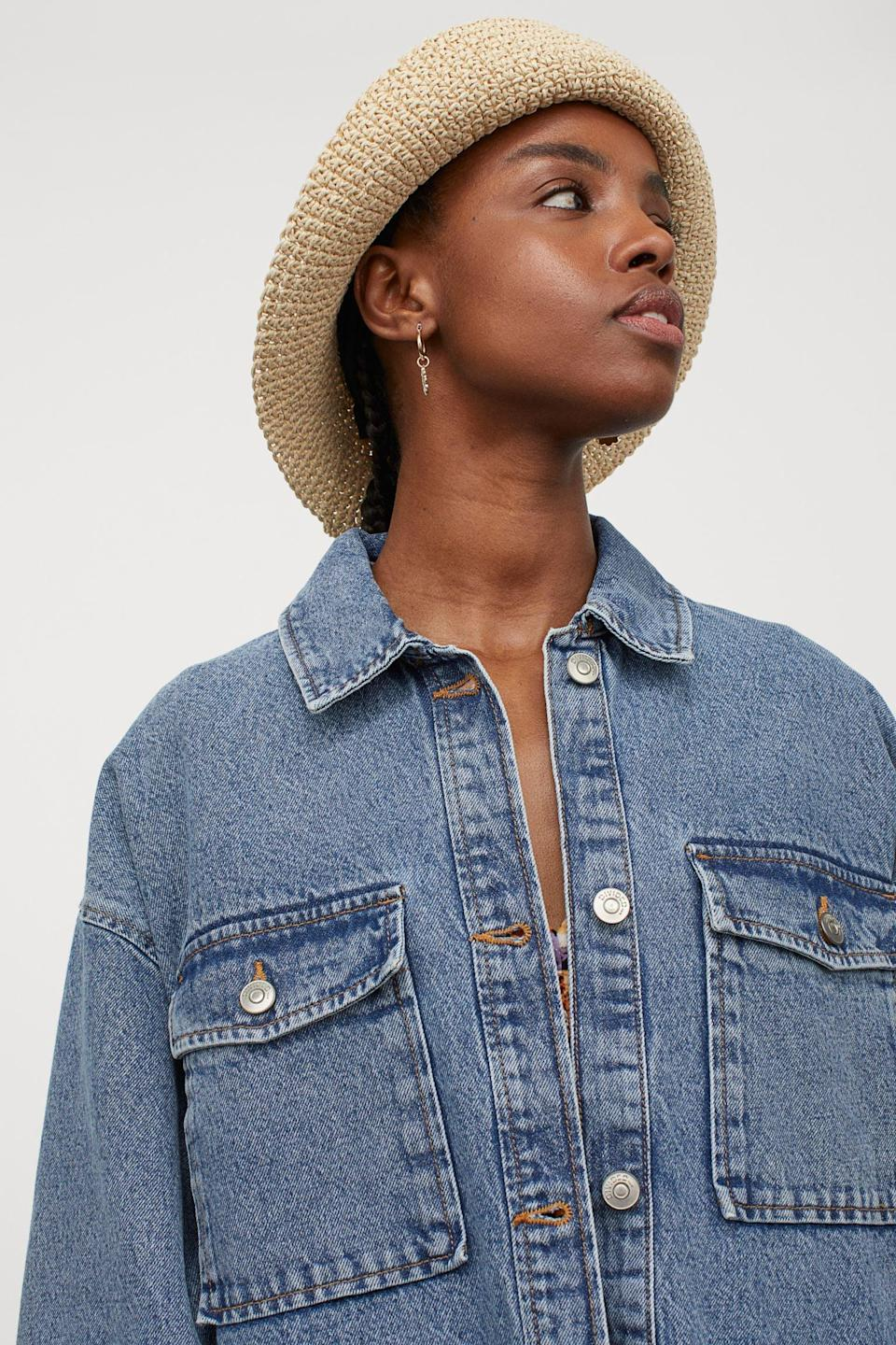 <p>Style this <span>H&amp;M Oversized Shirt Jacket</span> ($52, originally $70) with a cute pastel bucket hat for the perfect spring look.</p>