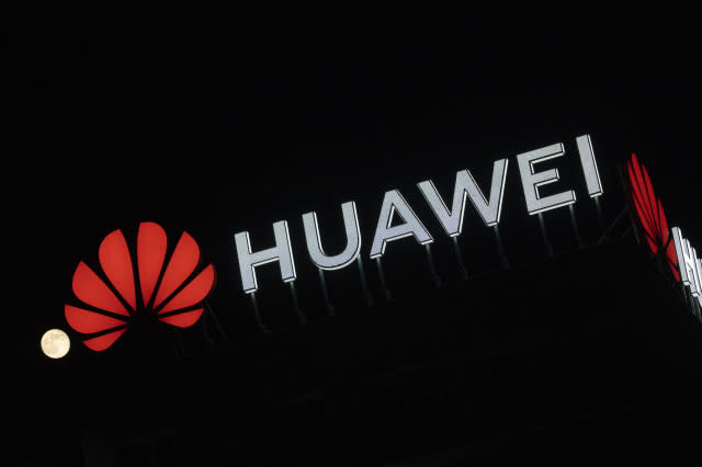 """The Huawei logo is seen atop a buildin in central Warsaw, Poland on April 8, 2020. Chinese Huawei is the largest telecommunications company in the world and the second largest mobile phone manufacturer in the world after Samsung. In January 2019 a Huawei employee in Poland had been arrested on charges of espionage at the local offices of the company in Warsaw. Huawei says it has won a quarter of all 5G contracts all around the world despite worries of security leaks involving """"backdoors"""". (Photo by Jaap Arriens/NurPhoto)"""