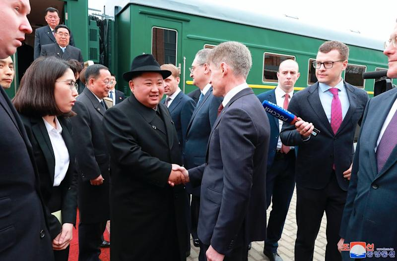 Kim met with officials after arriving in Russia by train (AP)