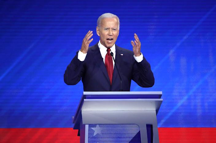 Former Vice President Joe Biden speaks during the Democratic presidential debate in Houston on Thursday. (Photo by Win McNamee/Getty Images)