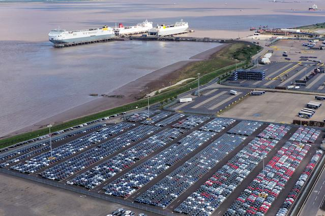 Imported vehicles sit at the docks near Immingham on May 05, 2020 in Grimsby, England. During the coronavirus lockdown new car sales have dropped 97%. Photo: Christopher Furlong/Getty Images