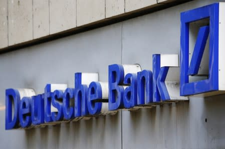 A logo of a branch of Germany's Deutsche Bank is seen in Cologne