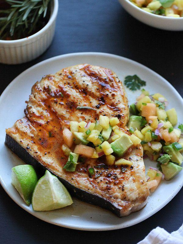 "<strong>Get the <a href=""http://www.foodiecrush.com/2014/07/grilled-swordfish-with-fruit-salsa/"" target=""_blank"">Grilled Swordfish with Smoked Paprika and Herbed Fruit Salsa recipe</a> from Foodie Crush</strong>"