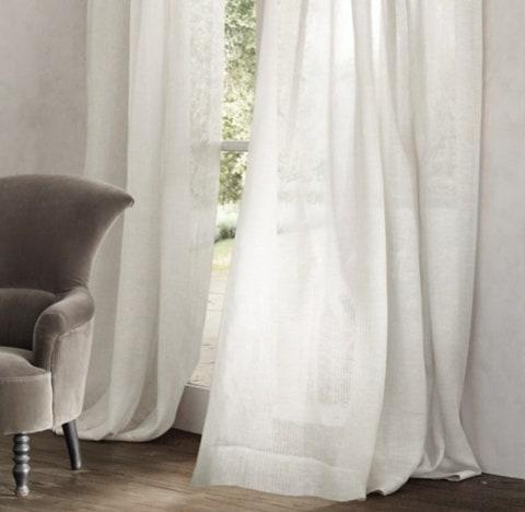 "Not only is the semi-sheer curtains' linen woven from the finest Belgian flax, it's also crafted at Libeco, the European country's oldest mill. Whether you opt for a lighter shade like crisp white, allowing for plenty of natural light to pass through, or charcoal for something a bit more room-darkening, you'll hardly notice the subtle pinstripes. These curtains offer a minimal European feel and are nice and airy in appearance. $129, RH. <a href=""https://rh.com/catalog/product/product.jsp?productId=prod2111189"" rel=""nofollow noopener"" target=""_blank"" data-ylk=""slk:Get it now!"" class=""link rapid-noclick-resp"">Get it now!</a>"