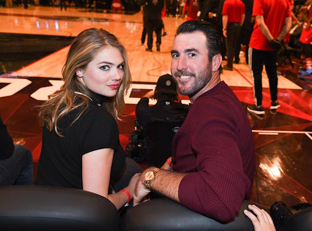 <p>Kate Upton (L) and Justin Verlander attends the 2016 NBA All-Star Game at Air Canada Centre on February 14, 2016 in Toronto, Canada. (Photo by George Pimentel/Getty Images) </p>